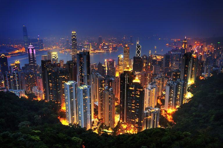 Hong Kong noční výhled