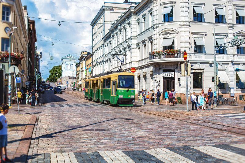 Zelená tramvaj v Helsinkách
